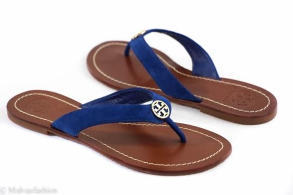 44dd62a5704a Tory Burch Thora Lancaster Suede Blue Sandals Image 0 ...