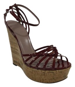 Gucci Wedge Sandals Burgundy Platforms