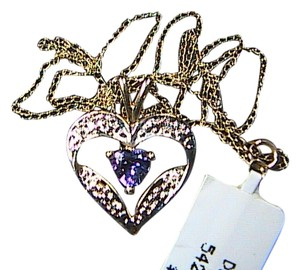 10k Yellow Gold .50 carats Heart Amethyst & Diamond Necklace