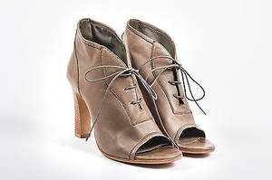 Jil Sander Taupe Leather Open Brown Boots
