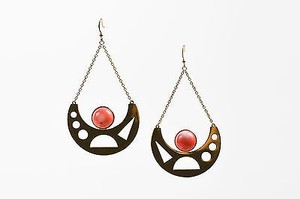 Kelly Wearstler Kelly Wearstler Yellow Gold Plated Coral Cabochon Alzata Drop Earrings