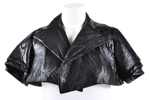 Isabel Toledo Silk Knit Cropped Short Sleeve Bolero Black Jacket