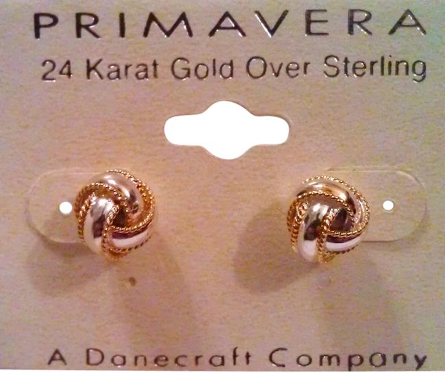 Item - Gold & Silver Love Knot Danecraft 24k Over Solid Sterling Post Earrings Made In Italy