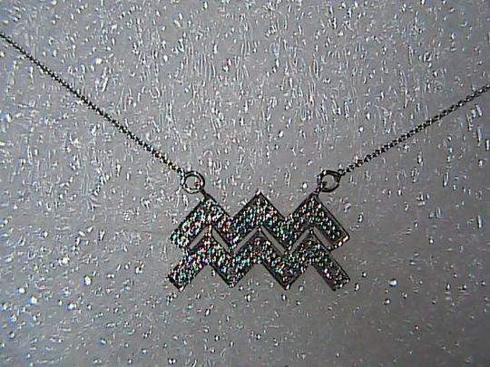 Brand New with tag 10k White Gold Aquarius Sign Diamond Necklace