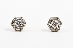 Roberto Coin Roberto Coin 18k White Gold Diamond Hexagon Post Earrings