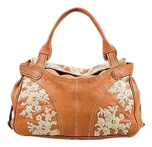 Valentino Tan And Beige Leather Floral Lace Applique Top Handle Shoulder Bag