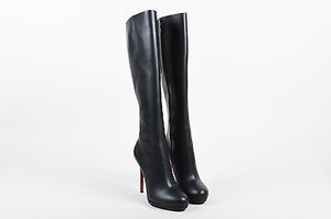 Christian Louboutin Leather New Simple Botta Tall Heel Black Boots