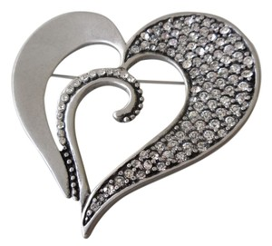 Chico's Chico's Designer Signed Large Silver Tone Sparkly Rhinestones Heart Pin Brooch - So Chic!!