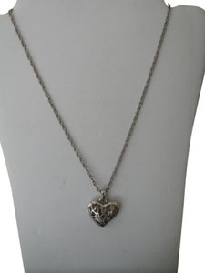 Chico's Chico's Reversible Silvertone Filigree & Crystal Studded Heart Pendant Necklace - REVERSIBLE
