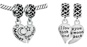 Mother daughter duo reversible Charm Pendant/ Love you to the Moon Duo Charm pendant for European charm bracelet