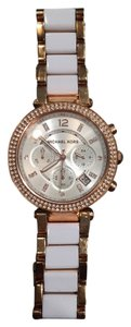 Michael Kors Parker Rose Gold-Tone White Acetate Watch