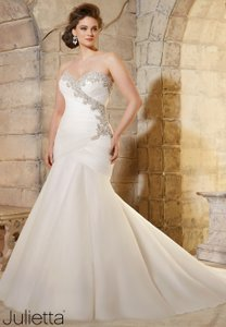 Mori Lee Ivory/Silver Soft Net 3187 Traditional Wedding Dress Size 24 (Plus 2x)