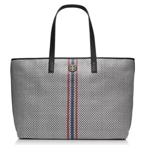 Tory Burch Woven Leather Tote in Black Multi