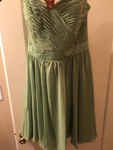 Mori Lee Olive Polyester Formal Bridesmaid/Mob Dress Size 14 (L)