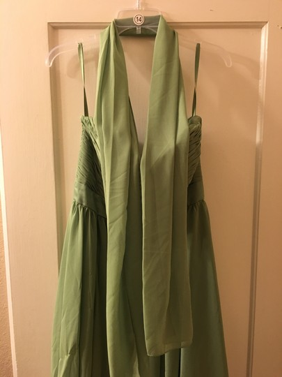 Mori Lee Olive Polyester Formal Bridesmaid/Mob Dress Size 14 (L) Image 4