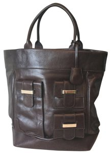 Pollini Open Top Tote in Chocolate Brown