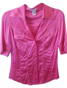 Cache Button Down Shirt Hot Pink