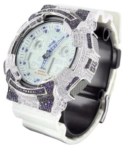 G-Shock G-shock Ga100lg Watch Mens Blue White Simulated Lab Diamond Analog Designer