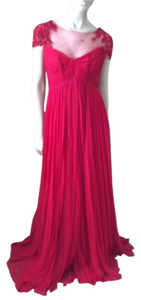 Monique Lhuillier Red Gown Long Formal Dress Size 6 (S) - Tradesy