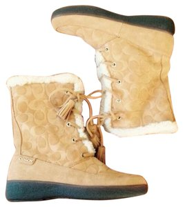 Coach Camel Shearling Suede Lace Up Camel Tan Boots