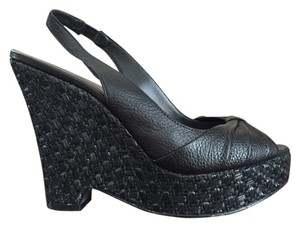 Banana Republic Leather Summer Goingout Black Wedges