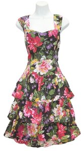 All That Jazz short dress black floral print Tiered Party Open on Tradesy