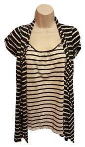Two Hearts Maternity Black and White Striped Cardigan and Shirt