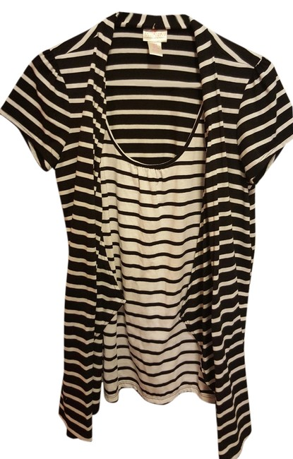 Two Hearts Maternity Black and White Striped Cardigan and Shirt Image 1