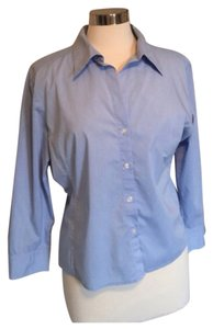 New York & Company Button Down Shirt Blue