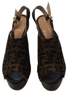 Fendi Brown logo Platforms