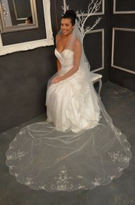 White Lena Designs Cathedral Wedding Veil E1151