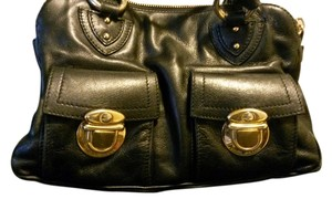 Marc Jacobs Vintage Iconic Hardware Timeless Leather Handbags Blake Multi Compartments Satchel in BLACK