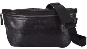Gucci NEW Gucci Men's 211110 Black GG IMPRIME Body Bag Fanny Pack Waist Sling