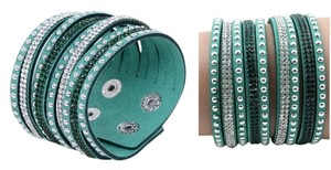 Other Rhinestone Crystal Leather Suede Wide Cuff arm wrap bracelet/ Rhinestone cuff bracelet