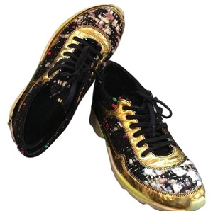 Chanel Sneakers Flat Black Gold Athletic
