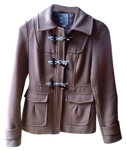 Tulle Toggle Wool Jacket Tan Button Wool Pea Coat