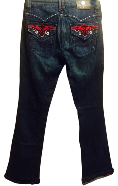 Item - Medium Wash/Red Multi Distressed Limited Edition Boot Cut Jeans Size 28 (4, S)