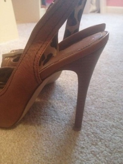 Jessica Simpson Heel Brown Leather Gold Buckle Platforms