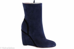 Gucci 353741 Suede Wedge Blue Boots
