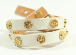 Tory Burch Tory Burch Patent Leather Foundation Double Wrap Logo Stud Bracelet Ivory