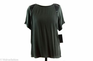 Ella Moss Stella Short Sleeve Rayonfaux Leather Tee Army Top Green