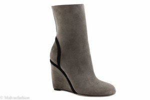 Gucci 353741 Suede Wedge Grey Field Boots