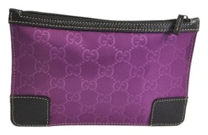 Gucci Purple Guccissima Nylon and Brown Leather Pouch