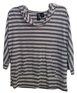 Weavers Navy Stripes T Shirt blue and white
