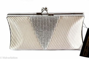 Sasha Satin Jeweled Evening Champagne Ivory Clutch