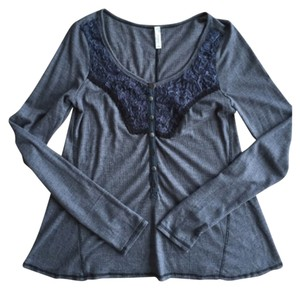 Free People Navy Longsleeve Buttons Embellished Sweater