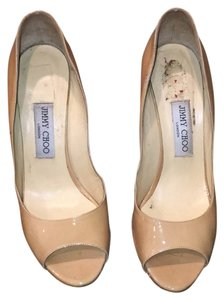 Jimmy Choo Nude patent leather Wedges