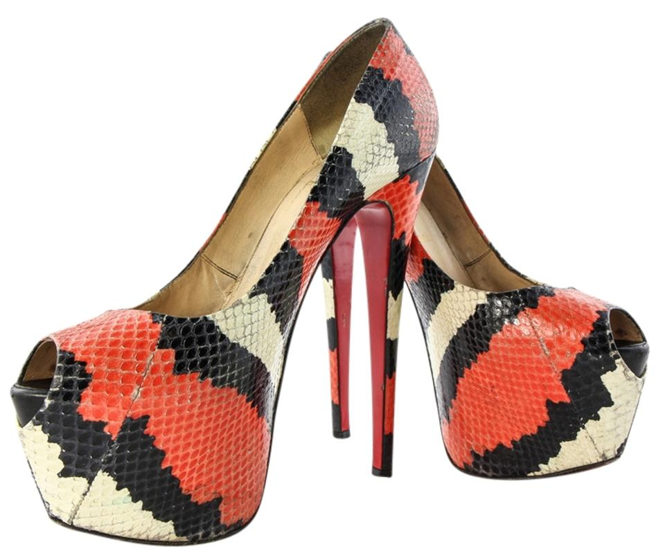 17c2b453d0a7 Christian Louboutin Multicolor Highness Watersnake Skin Leather Pumps