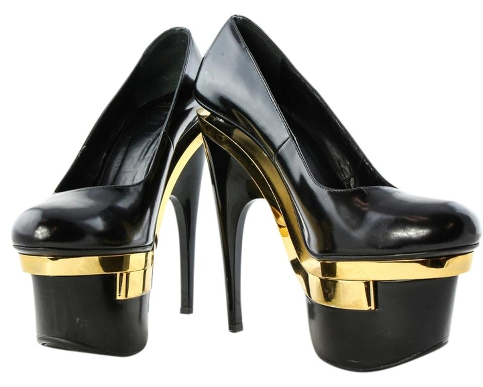 888ecdd2b59198 Versace Black Triple Gold Tone Chrome   Leather Floating Pumps Rare  Platforms