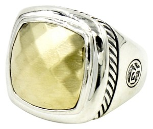 David Yurman 17mm Faceted Gold Albion Ring in 925 Sterling Silver and 18k Yellow Gold, Size 6 with Pouch